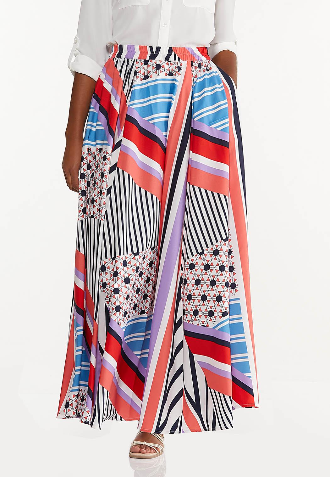 Plus Size Geo Block Stripe Maxi Skirt