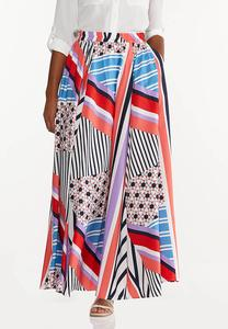 Plus Size Geo Block Stripe Maxi Skirt
