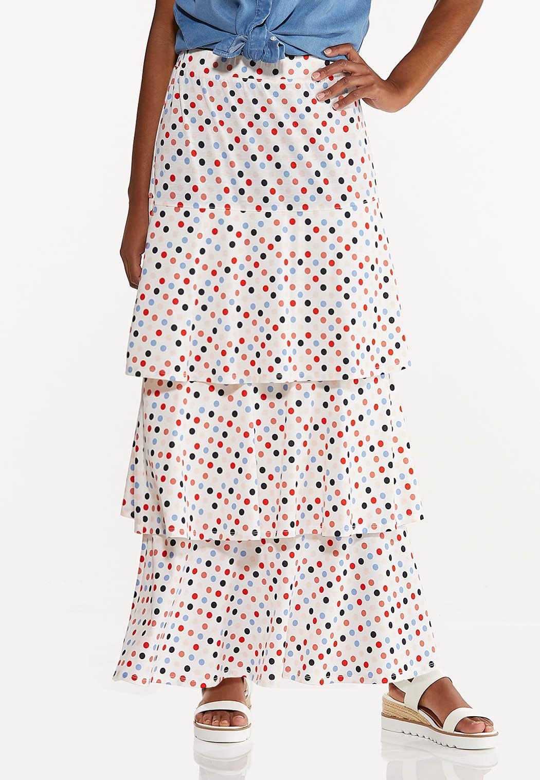 Plus Size Tiered Polka Dot Skirt