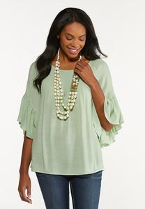 Plus Size Smocked Neck Poet Top