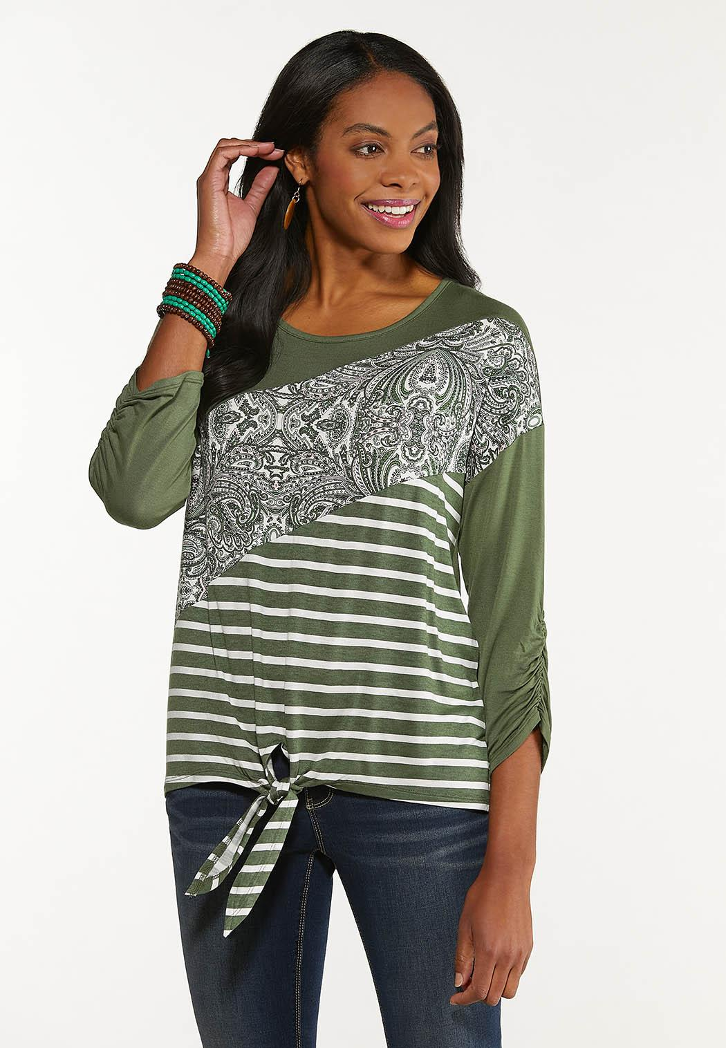 Plus Size Solid Paisley Stripe Top