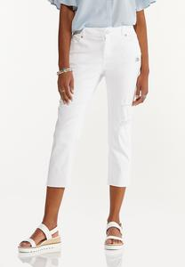 White Cropped Girlfriend Jeans
