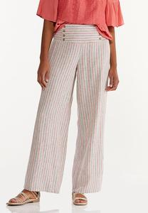 Striped Smocked Linen Pants