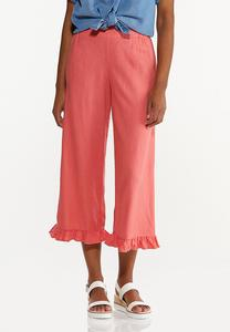 Cropped Ruffled Linen Pants
