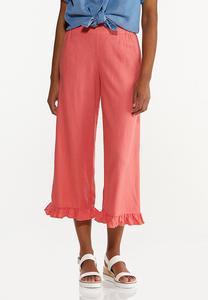 Cropped Ruffled Linen Pants