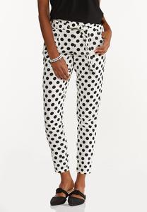 Polka Dot Linen Ankle Pants