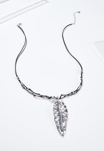 Large Feather Cord Necklace