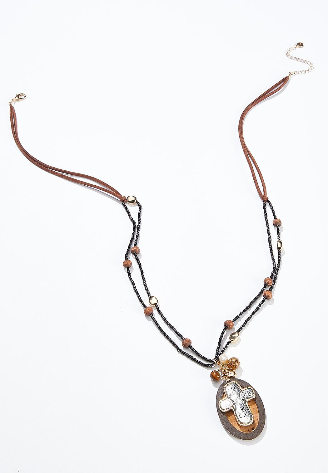 Suede Cord Cross Pendant Necklace