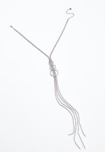 Rhinestone Ring Tassel Necklace