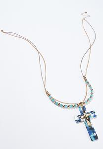 Multi Strand Cross Pendant Necklace