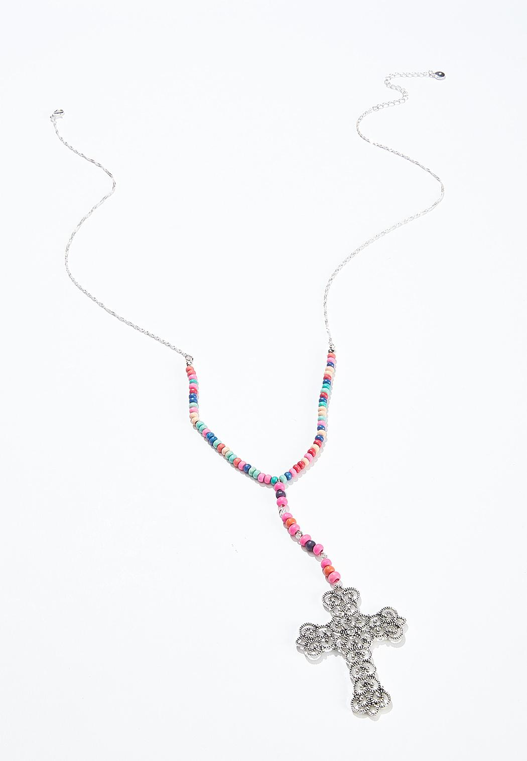 Rainbow Bead Cross Necklace