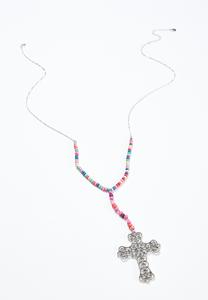 Rainbow Bead Cross Necklace