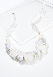 White Bead Long Layered Necklace