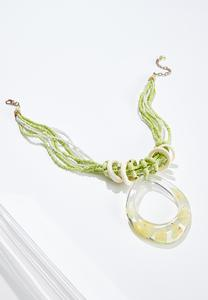 Lucite Ring Pendant Necklace