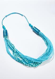 Blue Bead Pull-String Necklace