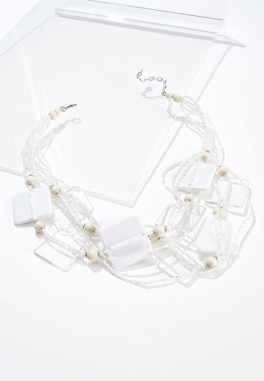 Multi Row Seed Bead Lucite Necklace