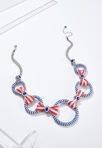 Red White Blue Ribbon Necklace