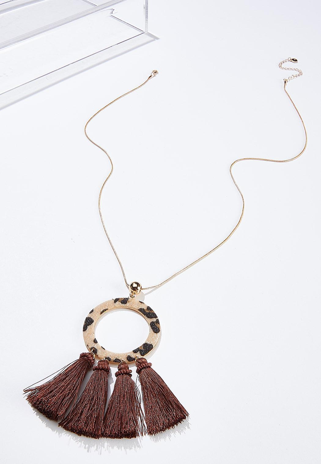 Leopard Ring Tassel Necklace
