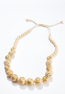 Raffia Wood Bead Necklace