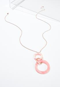 Lucite Double Ring Pendant Necklace