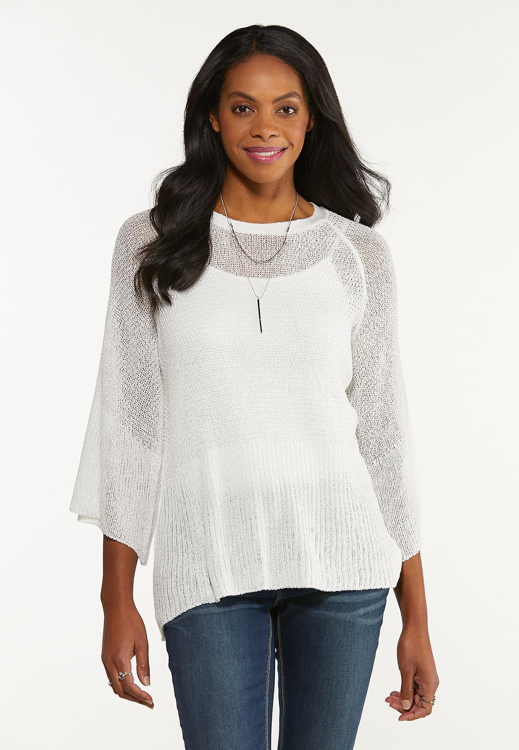 Plus Size Ivory Tie Back Sweater