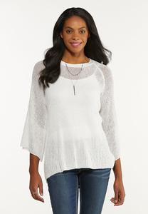 Plus Size Ivory Tie Back Sweater