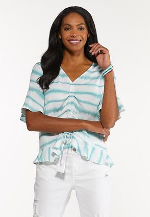Plus Size Tie Dye Drawstring Top
