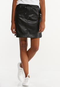 Faux Leather Track Skirt
