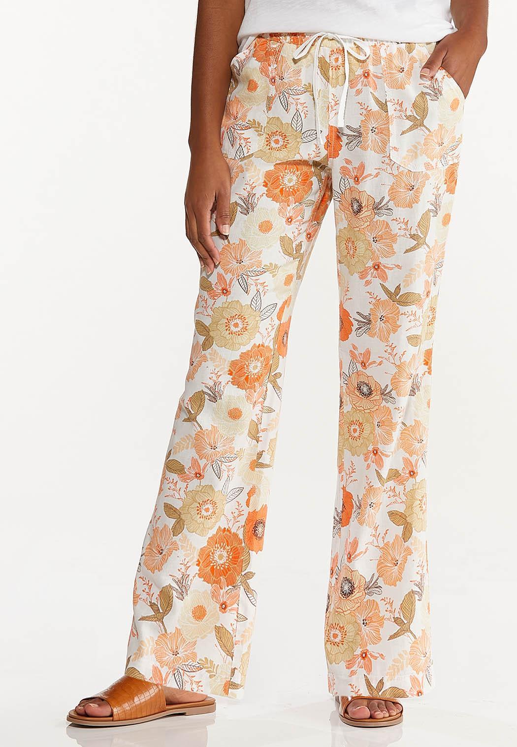 Orange Blossom Linen Pants