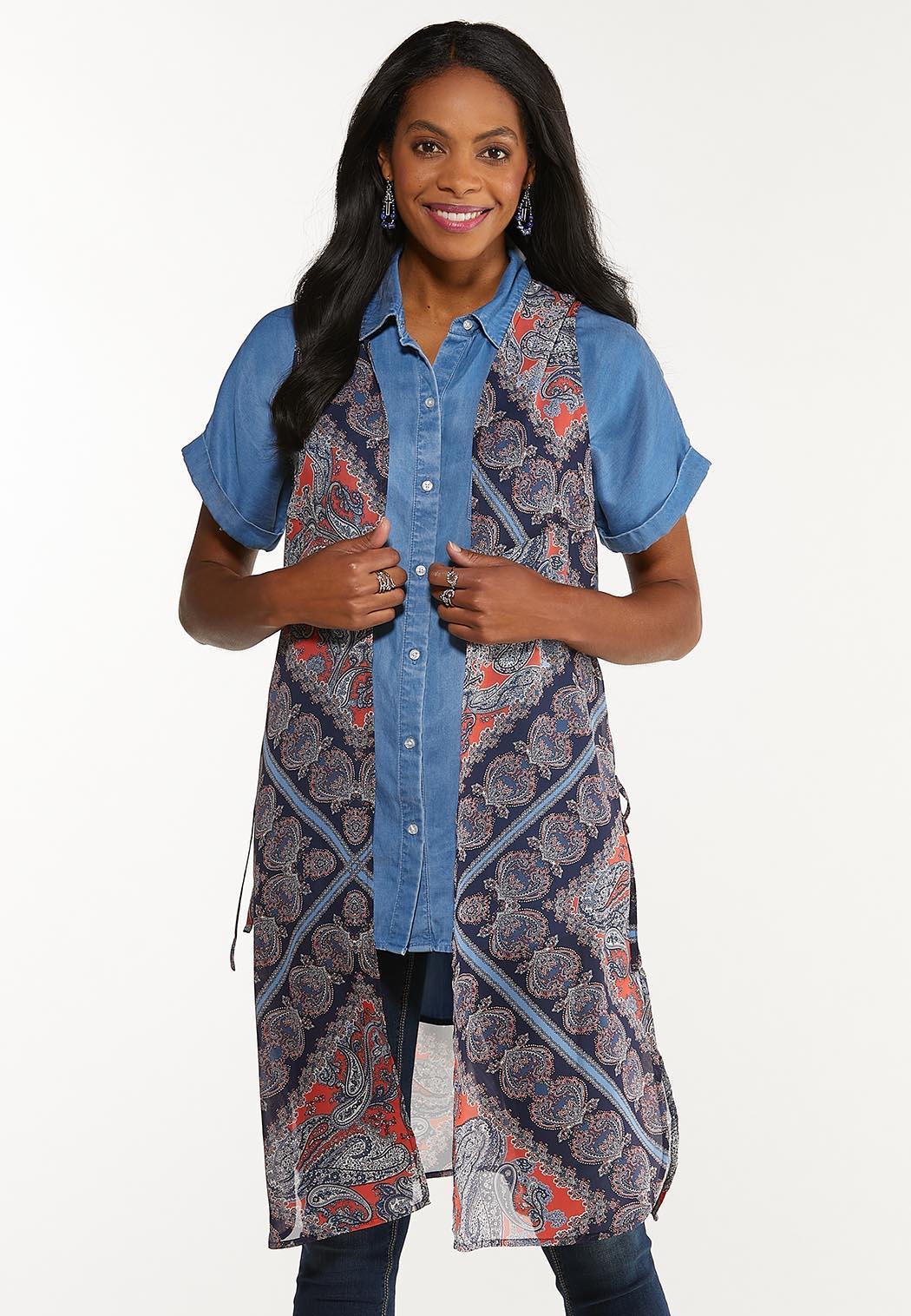 Plus Size Paisley Patchwork Vest