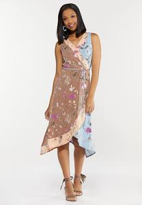 Plus Size Spring Bloom Faux Wrap Dress