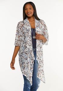 Plus Size Mesh Brushed Dot Kimono