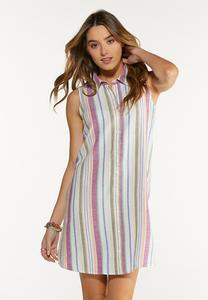 Plus Size Stripe Linen Dress