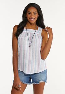 Plus Size Lavender Blue Linen Top