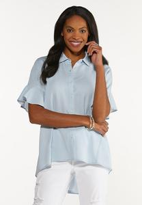 Plus Size Chambray Stripe High-Low Top