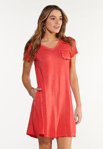 Ruffle Pocket Swing Dress