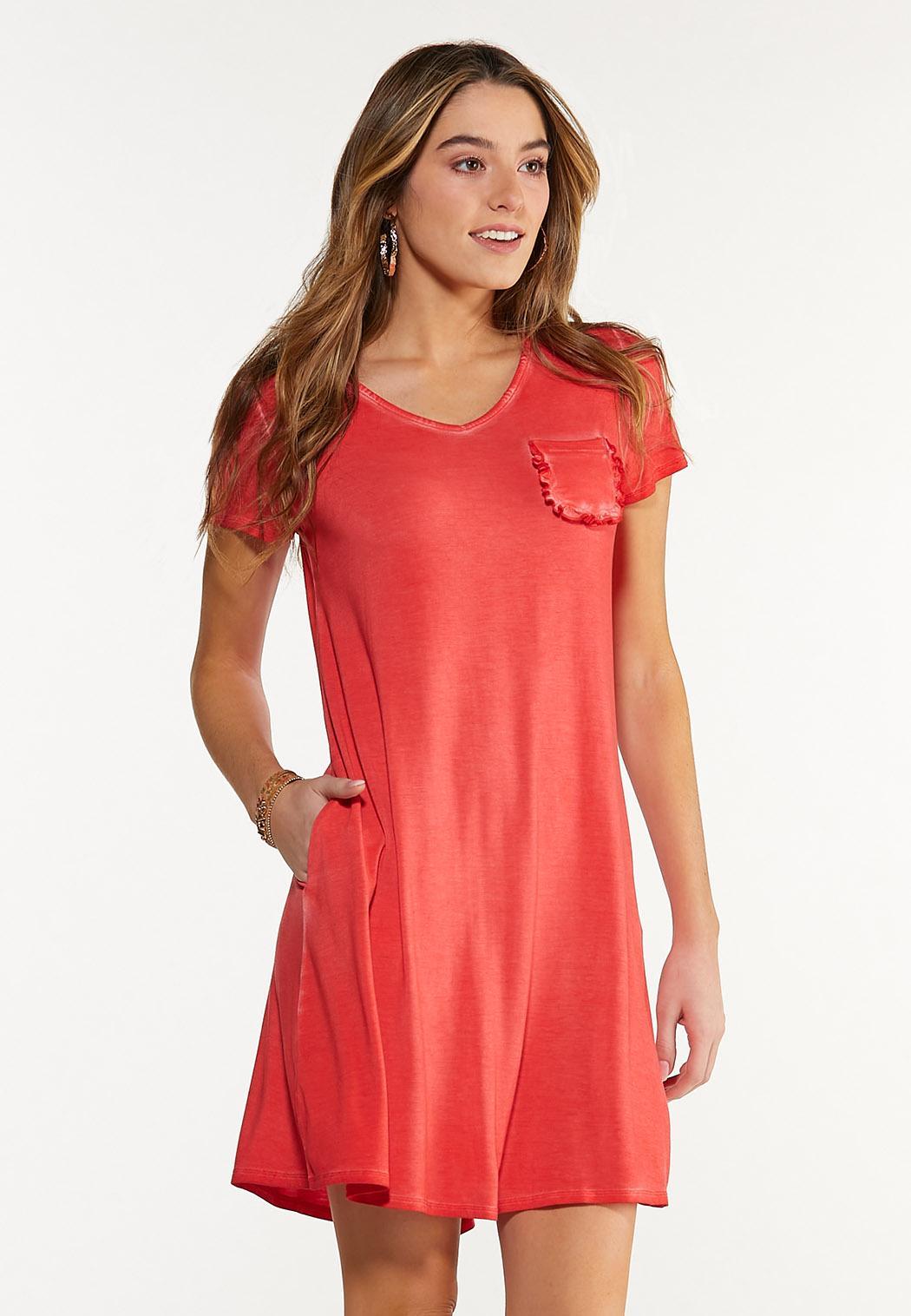 Plus Size Ruffle Pocket Swing Dress