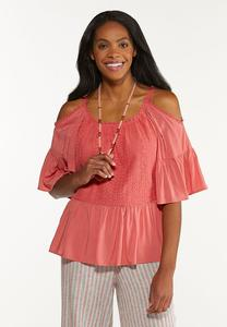 Plus Size Embroidered Cold Shoulder Top