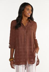 Button Down Grid Tunic Top