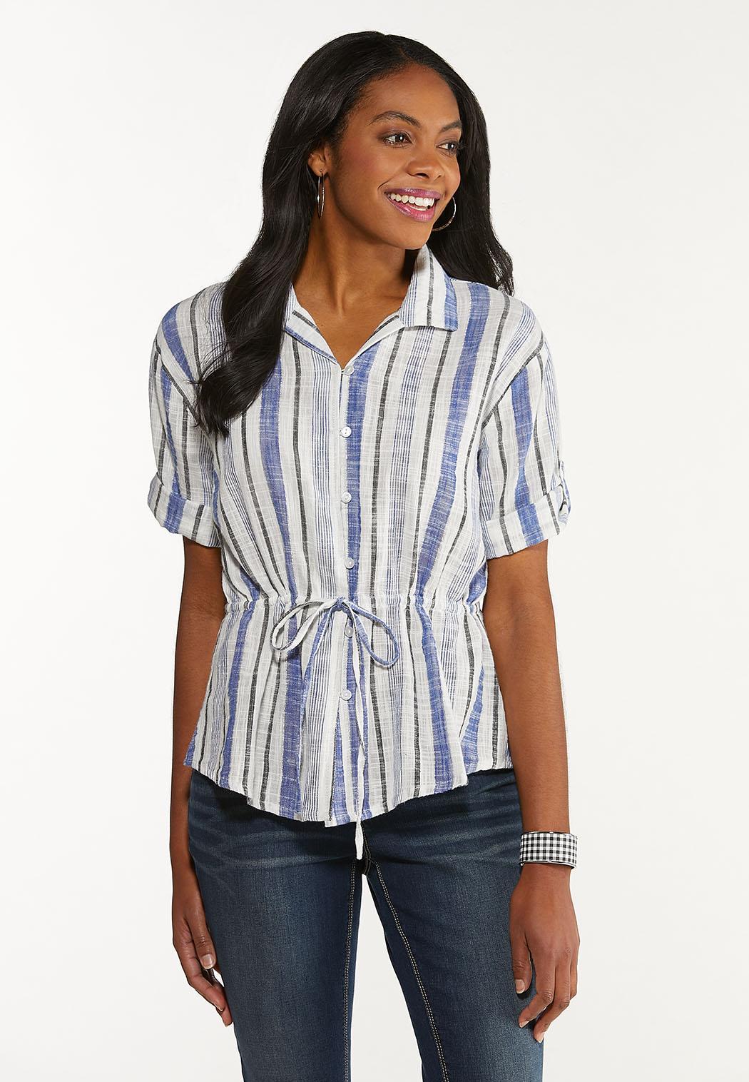 Stripe Drawstring Top