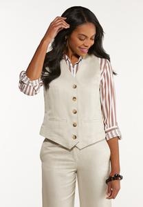 Linen Button Down Vest