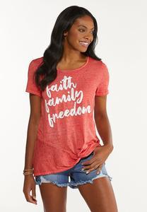 Plus Size Faith Family Freedom Tee