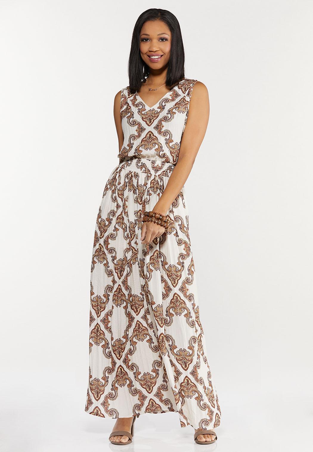 Plus Size Smocked Paisley Maxi Dress