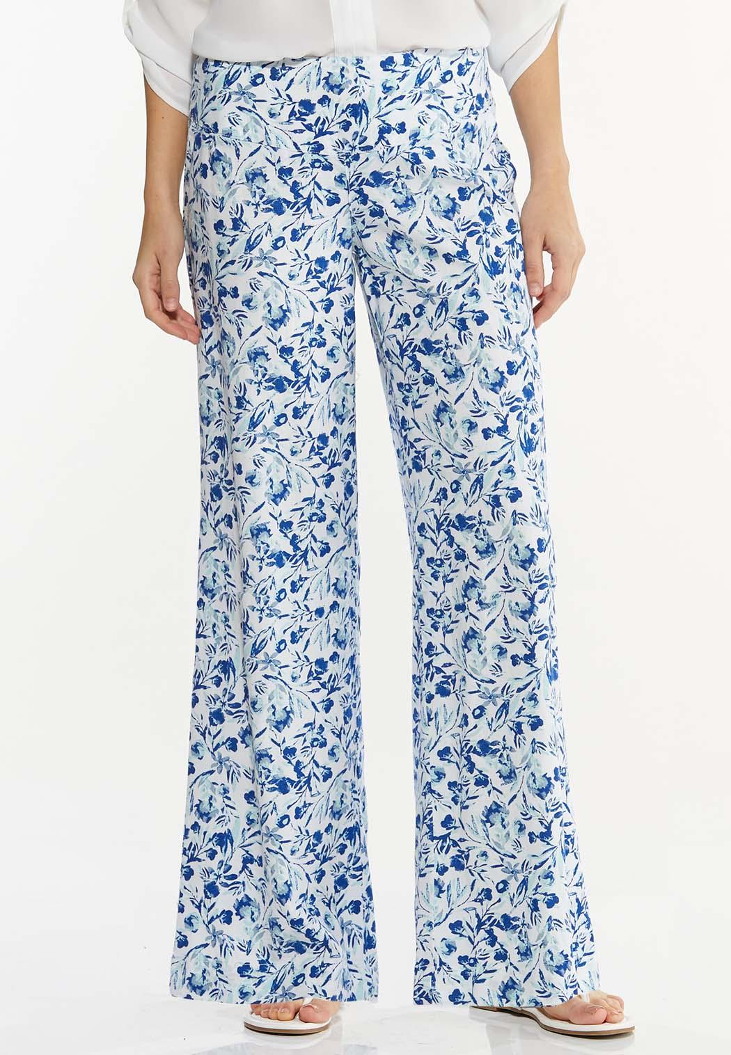 Floral Linen Wide Leg Pants
