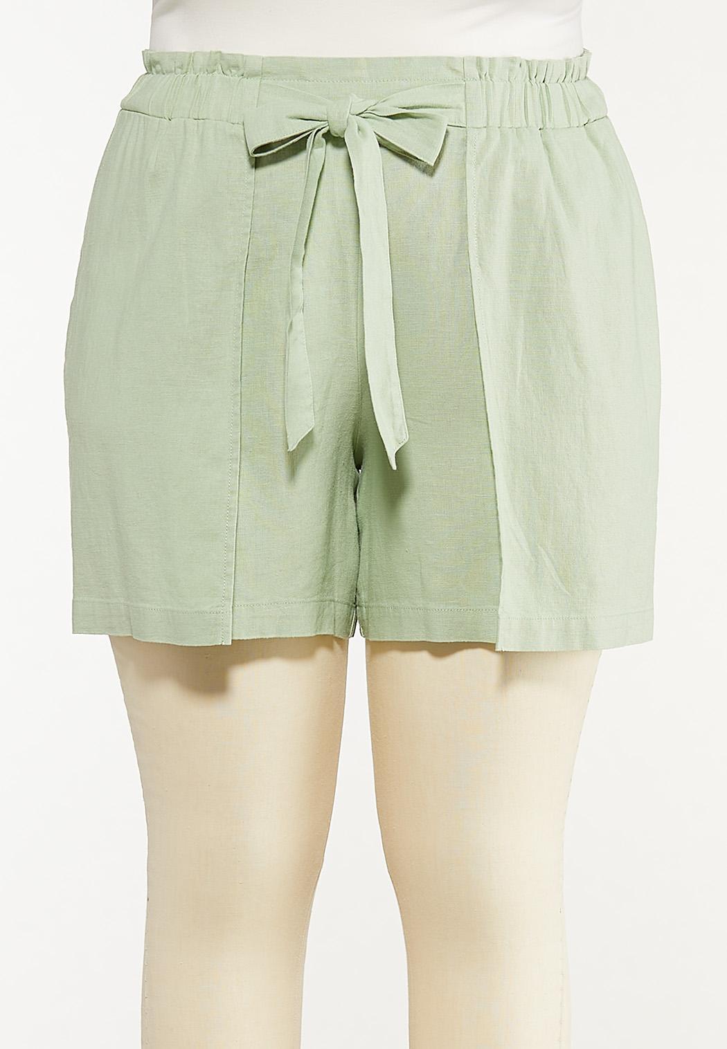 Plus Size Green Linen Shorts