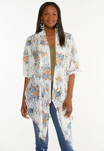 Plus Size Floral Lace Kimono