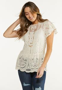 Plus Size Mesh Embroidered Peplum Top
