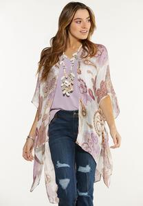 Paisley Sequin Thread Kimono
