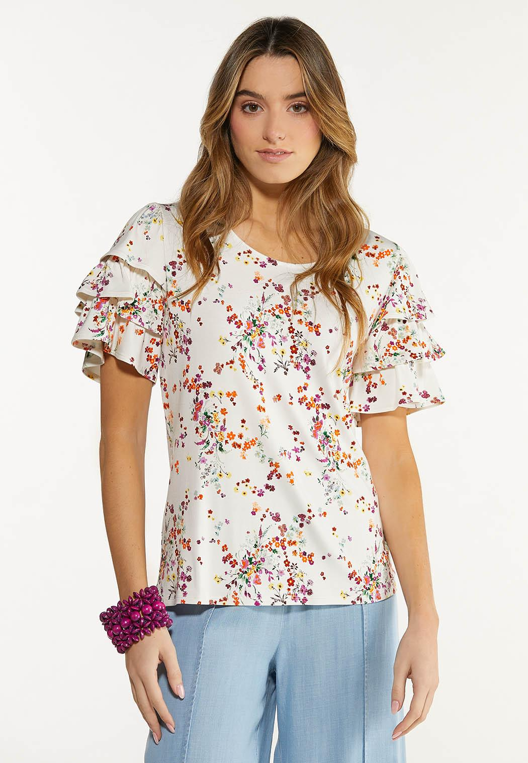 Plus Size Ruffled Spring Garden Top