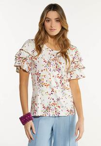 Plus Size Ruffled Spring Garden Top